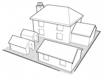 Diagram showing that no more than 50% of area of land around a property can be taken up with garden buildings