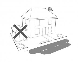 Diagram showing that garden buildings cannot be placed to the side of a property on designated land