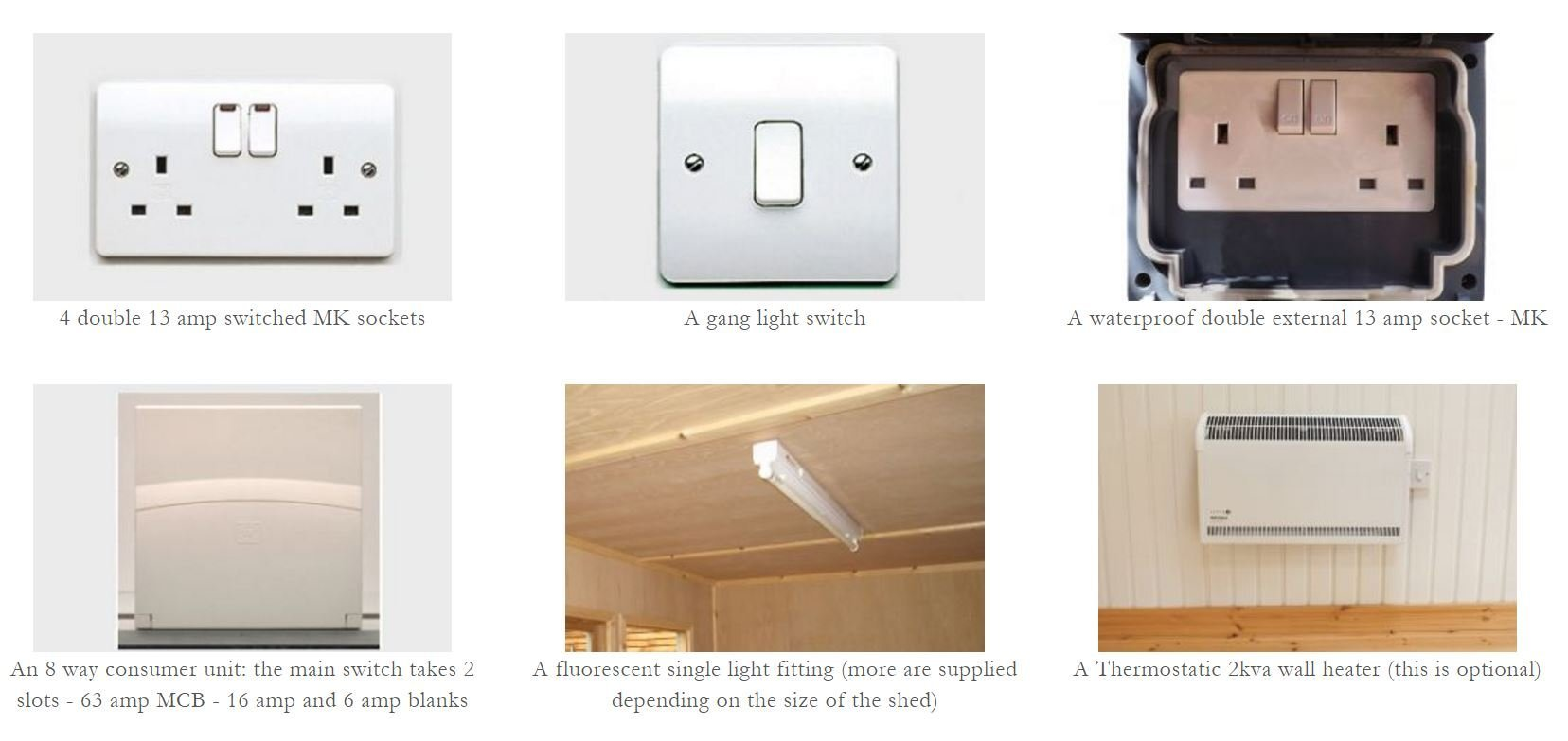 Garden Shed And Workshop Extras 3 Switch Light Fitting Electrical Pack